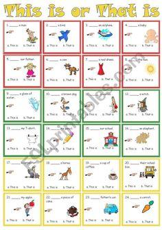 This is or That is - ESL worksheet by sweetdreamja Kg Worksheets, 2nd Grade Worksheets, Kindergarten Worksheets, Summer Worksheets, English Activities For Kids, English Lessons For Kids, English Worksheets For Kids, School Social Work, Learn English