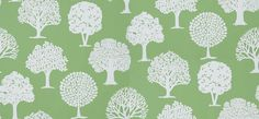 Russell Square Green (T35110) - Thibaut Wallpapers - A stunning tree motif, with a hand printed effect - shown here in white on rich apple green.  Wide width. Please request sample for true colour match. This is an American wallcovering and will take between 7-10 working days for delivery.