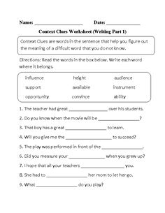 Worksheets Context Clues Worksheets 4th Grade context clues worksheet word mystery texts guided reading and englishlinx com worksheets