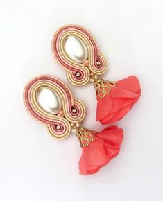 Summer coral pearl earrings coral living cream earrings soutache clip on earrings soutache ohrringe coral earrings flower earrings Soutache Earrings, Tassel Earrings, Etsy Earrings, Pearl Earrings, Drop Earrings, Cream Earrings, Flower Earrings, Clip On Earrings, Polymer Clay Charms