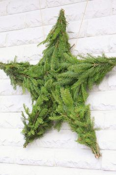 Check Out 23 Natural Christmas Decorations For Your Home. Simple holiday decorating touches bring Christmas to the quiet vintage style of this antique-white home. Natural Christmas, Green Christmas, Christmas Design, Simple Christmas, Christmas Home, Christmas Stars, Diy Christmas Garland, Office Christmas Decorations, Holiday Wreaths