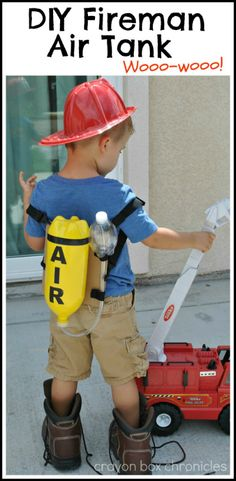 This DIY Fireman Air Tank & Pretend Play is perfect for Fire Safety Week! Kids learn the best through play, help your kids learn about fire safety with this awesome parent project.
