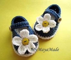 White Daisy Crochet Cotton Baby Booties  4 Sizes  by MyMayaMade, $23.99