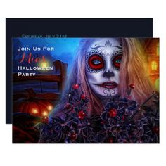 #Adult Halloween Invitation Sugar Skull Day Dead - #halloween #invitation #cards #party #parties #invitations #card