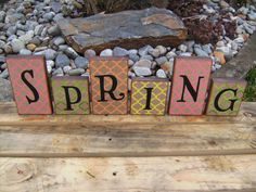 Ready for SPRING Decorated Wood Blocks by BountifulCrafts on Etsy, $21.00