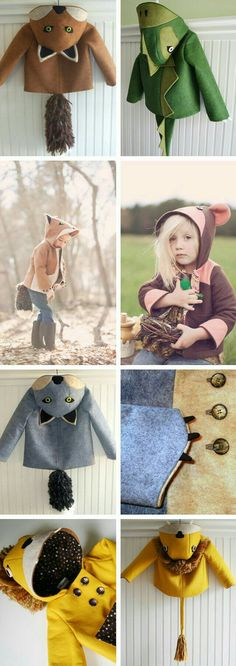 wild coats <-- these are so cute. i know they are for kids but that doesn't stop me from wanting one! Cute Kids, Cute Babies, Baby Kids, Baby Boy, Kids Diy, Sewing For Kids, Baby Sewing, Little Fashion, Kids Fashion