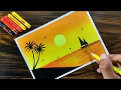 Landscape Drawing for beginners with Oil Pastel Step by Step Oil Pastel Drawings Easy, Oil Pastel Paintings, Oil Pastel Art, Colorful Drawings, Easy Drawings, Easy Sketches, Drawing For Beginners, Drawing For Kids, Drawing Ideas