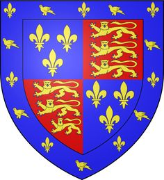 Coat of arms of Edmund Tudor, first Earl of Richmond. As he was the son of a princess of France and a minor Welsh Squire, the grant of these arms to him by his half-brother Henry VI recognizes his status as part of the Lancastrian Royal Family. Uk History, Tudor History, British History, Family History, Ancient History, Lancaster, John Of Gaunt, Medieval, Tudor Dynasty