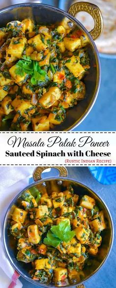 Masala Palak Paneer (Sauteed Spinach with Cheese)