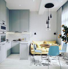 Kitchen Room Design, Home Decor Kitchen, Kitchen Furniture, Kitchen Interior, Interior Design Living Room, Home Kitchens, Small Apartment Kitchen, Small Apartment Design, Townhouse Interior