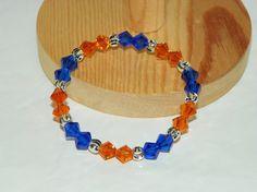 Blue & Orange - NFL Chicago Bears - Swarovski Elements Crystals with Sterling Silver Laser Cut Beads Bracelet on Etsy, $24.99