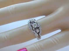1950s Diamond Wedding Ring Set .52Ctw White by estatejewelryshop, $525.00