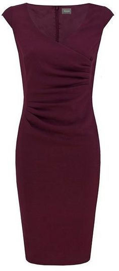 Alexon Purple Maroon Crepe Wrap Dress I'm kind of into the dark, bad ass, CEO everyone is scared sort of look😊 Formal Dresses For Women, Dresses For Work, Wrap Dresses, Dresses For The Office, Dress Work, Sheath Dresses, Pretty Dresses, Beautiful Dresses, Dress Skirt