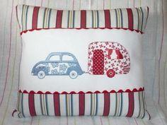 VW Beetle & Caravan Cross-Stitched Cushion