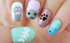 Amazing Cat Nail Art Designs To Polish Your Claws Nail Art Chat, Cat Nail Art, Animal Nail Art, Cat Nails, Simple Nail Designs, Nail Art Designs, Love Nails, Pretty Nails, Nail Decorations