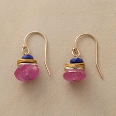 """TWO PART HARMONY EARRINGS--In this pair of lapis and pink sapphire earrings, lapis rondelles and pink sapphire wheels harmonize in tune with disks of sterling silver and 18kt goldplate. 14kt goldfilled French wires. Handmade in USA. 7/8""""L."""