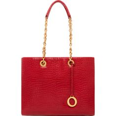 Alpine Chain Croco Medium Tote in Cayenne | Oroton