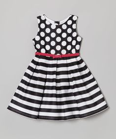 Love this Black & White Polka Dot Stripe Dress - Toddler & Girls by Youngland on #zulily! #zulilyfinds