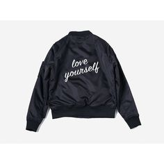 Justin Bieber Love Yourself Bomber Jacket (221.845 COP) ❤ liked on Polyvore…