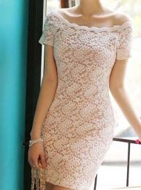 Fresh Slash Collar Pure Color Lace Floral Slim Dress Women Summer Bodycon Dress