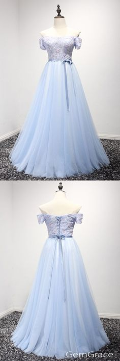 Cute blue tulle off shoulder evening gown Tulle Prom Dress 25cfdc8661d1