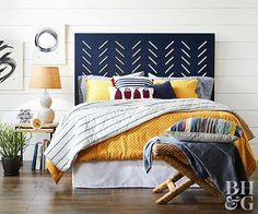 Use these amazing DIY headboard ideas as inspiration for your own bedroom's headboard makeover. These easy and simple ideas include a ruffled fabric headboard, a wood headboard, an upholstered headboard, and more. Cheap Diy Headboard, Headboard Makeover, Blue Headboard, Diy Headboards, Headboard Ideas, Wood Headboard, Headboard Cover, Headboard Designs, Diy Home Decor Rustic