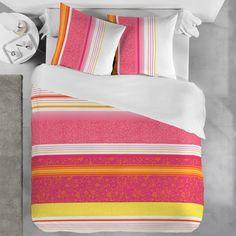 Sélection mois du blanc - Parure de lit Garnier-Thiebaut - Modèle : Kyoto - Parure de lit en coton et satin 80 fils/cm2 - Coloris : coral