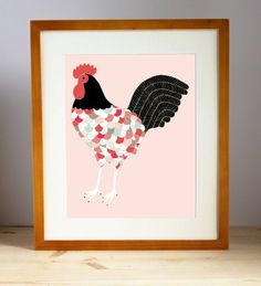 Barnyard Rooster Illustration Rooster Print Rooster by Gingiber Stencil, Rooster Illustration, Country Wedding Gifts, Pink Olive, Rooster Art, Trendy Home Decor, Chicken Art, Outdoor Wedding Decorations, Personalized Wedding Gifts