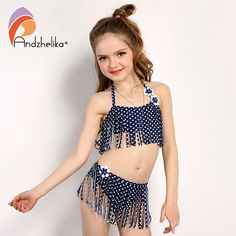 729f3b7986 Andzhelika Summer Children's Swimwear 2017 New Girls Bikini Cute Dot Child  Bikini Set Kids Tassel Swim