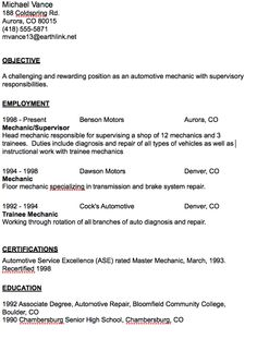 Automotive Mechanic Resume Example | Resume examples, Job resume ...