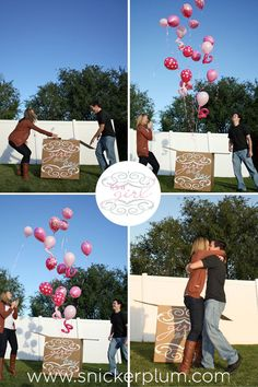 Gender Reveal Party Balloon Box Vinyl Decal Decor. Want to do this but have some balloons weighted down!