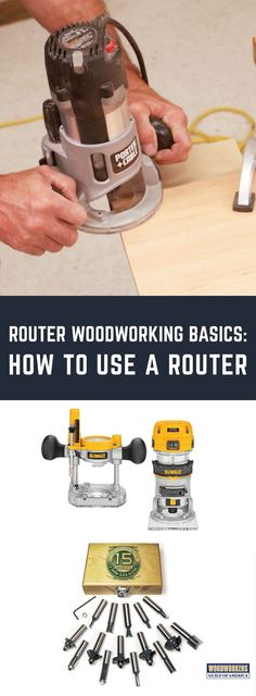 Easy Woodworking Projects Routers can be divided into two categories: fixed base and plunge base. On a fixed base router, once the bit is in and the base is locked, the bit is in a 'fixed' position, meaning its depth is set and will stay set (Photo Woodworking Power Tools, Woodworking Basics, Router Woodworking, Learn Woodworking, Easy Woodworking Projects, Popular Woodworking, Diy Wood Projects, Woodworking Furniture, Furniture Plans