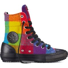 Converse Chuck Taylor All Star Woolrich Hi-Rise Boot – yellow bird... ($45) ❤ liked on Polyvore featuring shoes, sneakers, yellow bird, leather shoes, real leather shoes, genuine leather shoes, print sneakers and yellow shoes