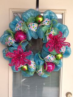 Spring Mesh Deco Wreath by SouthernWreathDesign on Etsy, $70.00