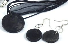 Handmade Ceramic Jewelry Black Necklace and Earrings Set Round Disc on Etsy, $32.00 AUD