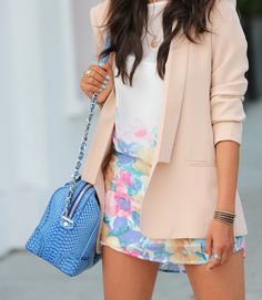 Pink Blazer Soft Floral Dress