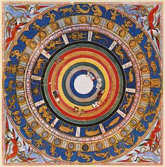 This celestial map or macrocosm is the opening miniature in the Turkish Zubdat al-Tawarikh, or History of the World, showing the seven heave...