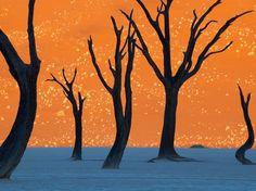20 fotos chocantes que parecem falsas, mas são absolutamente reais: Árvores secas na Namíbia, fotografadas contra uma duna gigante.