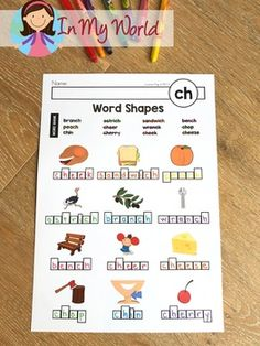 Phonics Word Work (Word Shapes) Worksheets by Lavinia Pop Kids Writing, Writing Practice, Ch Words, Writing Lines, Shapes Worksheets, Phonics Words, Word Building, Tracing Letters, Phonics Activities