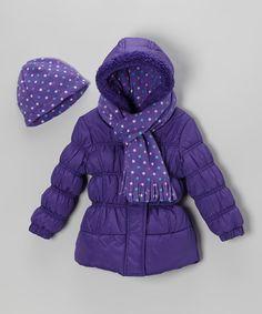 Purple Polka Dot Puffer Coat Set - Toddler & Girls | zulily