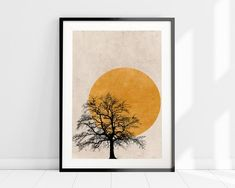 Set of 3 Prints, Yellow Sun Silhouette Art Prints, Scandinavian Print Set, Minimalist Wall Art Set, - Modern Orange Wall Art, Yellow Art, Zen Meditation, Wall Art Sets, Wall Art Prints, Skandinavisch Modern, Minimal Art, Nordic Art, Tree Silhouette