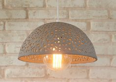 Ceramic lamp shade. Dome pendant light. by rachelnadlerceramics