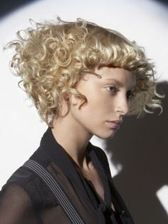 blonde edgy curly hair