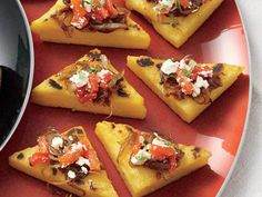 Polenta Toasts with Balsamic Onions, Roasted Peppers, Feta, and Thyme | The polenta and onions may be prepared a few days in advance.