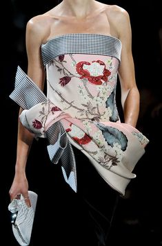 Armani Privé dress gains a Japanese flair through an oversized kimono bow