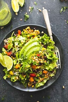 Bright and crunchy bell peppers, grilled corn, and avocado bring this light and hearty chopped fiesta quinoa salad with cilantro lime dressing to life!