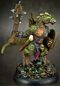 painted reaper bones | Lizardman Warrior, 77155 Reaper Miniatures, Inc.