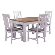 Westbury Grey Painted 125-165cm Ext. Table and 4 Chairs (S456) with Free Delivery   The Cotswold Company