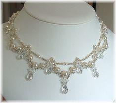 Cascading Bridal Teardrop Necklace White Pearl by BridalDiamantes, $165.00