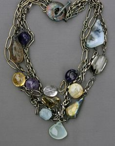 Multi-strand, multi-stone sterling necklace - Jewelry by Mirinda
